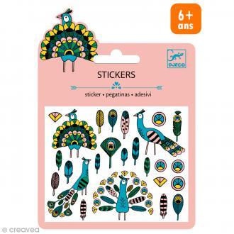 Djeco Mini stickers métalisés - Plumes et paons - 24 pcs