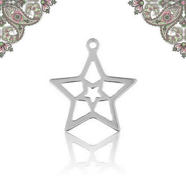 Argent 925-Breloque pendentif etoile 16,1*14,1 mm - Photo n°1
