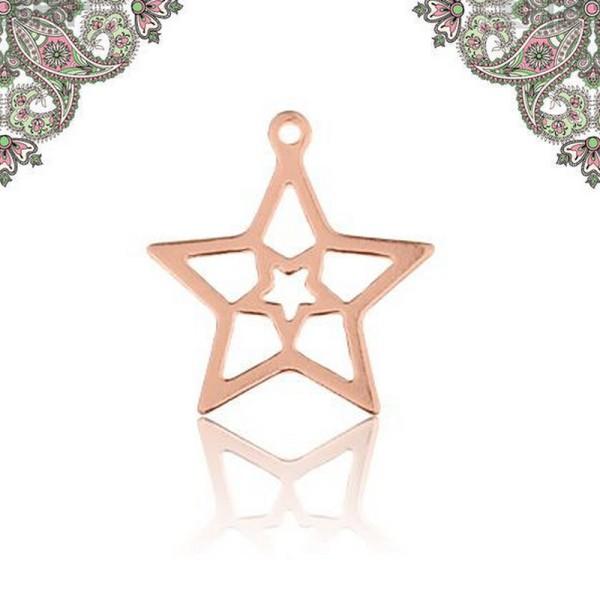 Argent 925 Plaquage Or Rose- Breloque Pendentif étoile  16,1*14,1 mm - Photo n°1