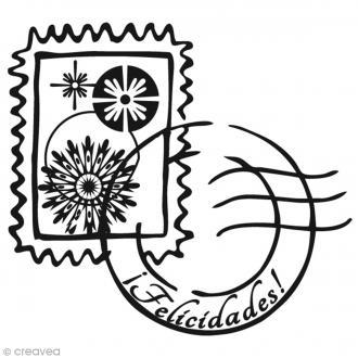 Tampon Noël Timbres Felicidades - 6 x 6 cm
