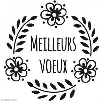 Tampon Noël Meilleurs voeux et Couronne de fleurs - 6 x 6 cm