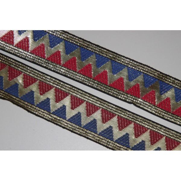 Galon brodé géométrique ou ruban de 4.5 cm de large - Photo n°1