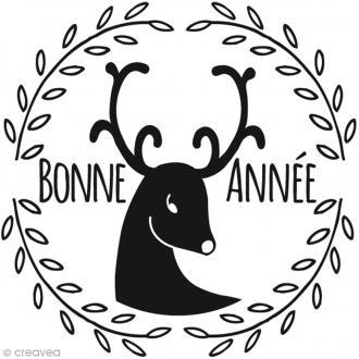 Tampon Noël Bonne Année et Renne - 6 x 6 cm
