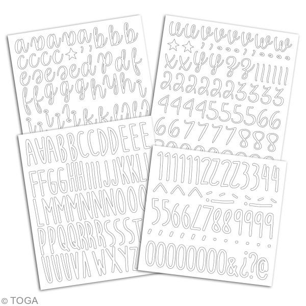 Stickers alphabet flex thermocollant - Blanc - Multi typographies - 301 pcs - Photo n°2