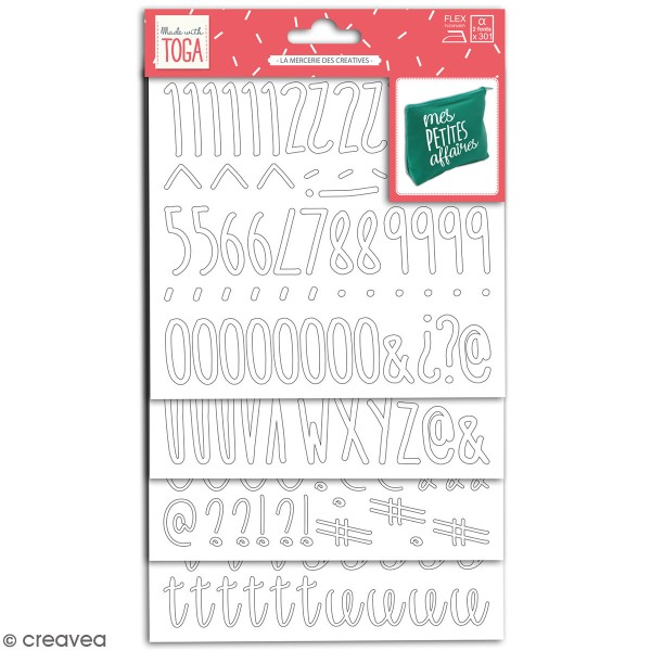 Stickers alphabet flex thermocollant - Blanc - Multi typographies - 301 pcs - Photo n°1