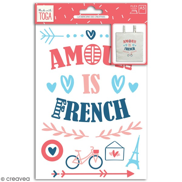 Stickers flex thermocollant A5 - Amour is french - Photo n°1