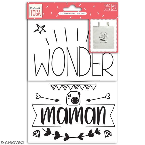 Stickers flex thermocollant A5 - Wonder maman / mariée / témoin / maîtresse - Photo n°1