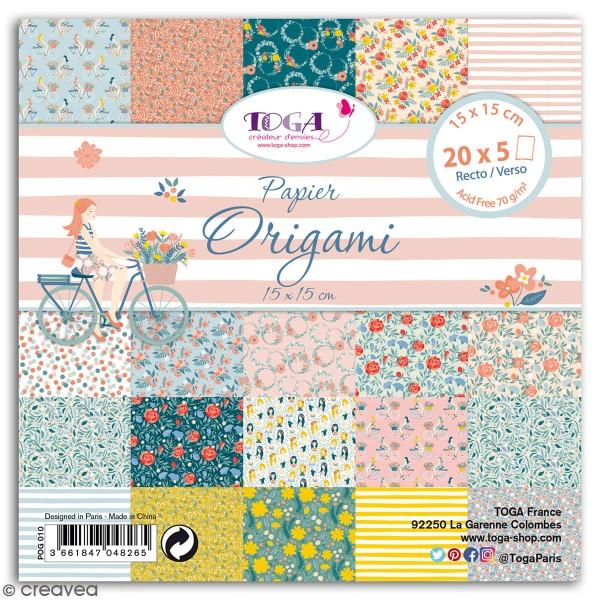 Papier Origami Recto/verso - Oh La La - 15 x 15 cm - 100 feuilles - Photo n°1