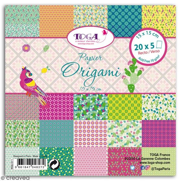 Papier Origami Recto/verso - Hacienda à Cuzco - 15 x 15 cm - 100 feuilles - Photo n°1