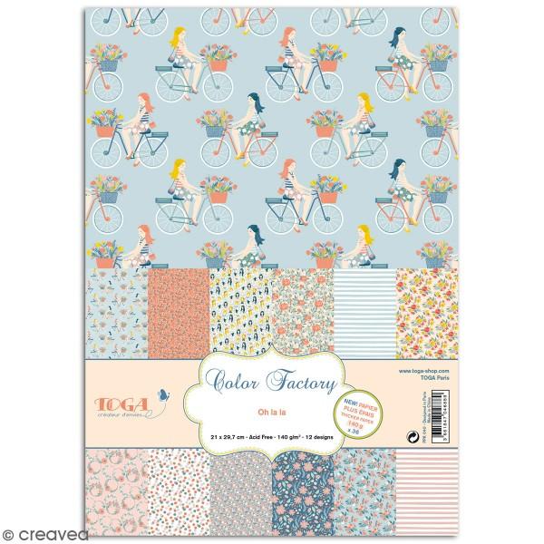 Papier scrapbooking Toga - Color factory - Oh La La - 36 feuilles A5 - Photo n°1
