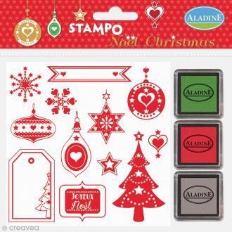 Kit de 12 tampons Stampo - Noël Coeur Etoile