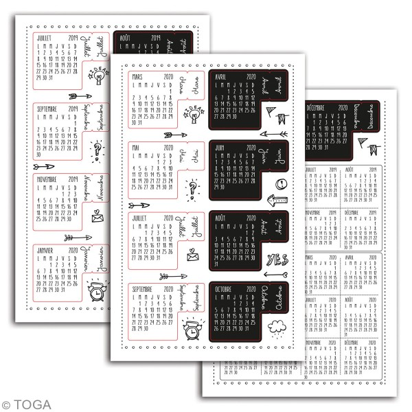 Stickers Onglets avec agenda 2019-2020 Toga - noirs et blancs - 18 pcs - Photo n°2