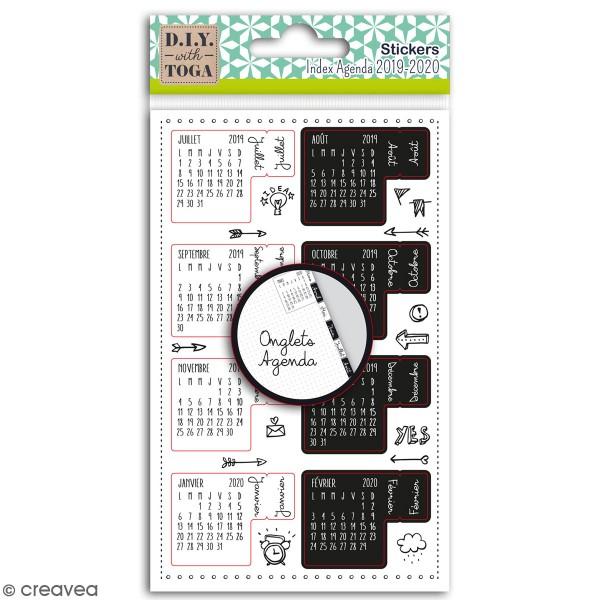 Stickers Onglets avec agenda 2019-2020 Toga - noirs et blancs - 18 pcs - Photo n°1