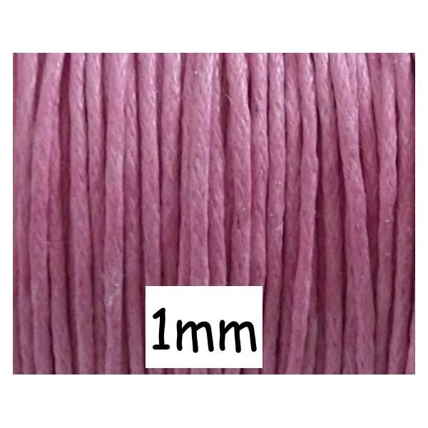 5m Fil Coton Ciré 1mm Rose Bonbon - Photo n°1