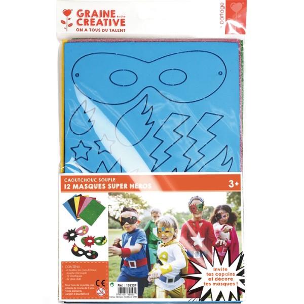 Assortiment de masques en papier mousse - Super héros - 12 pcs - Photo n°1