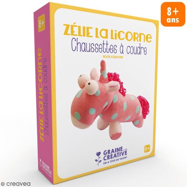 Kit couture enfant - Peluche chaussette Licorne - Photo n°1