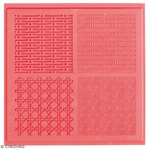 Tapis de texture souple - Vannerie - 4 x 4 cm - 4 motifs - Photo n°1