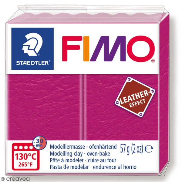 Pâte Fimo Effet Cuir Fuschia - 57 g - Photo n°1