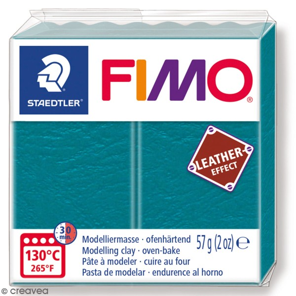 Pâte Fimo Effet Cuir Turquoise - 57 g - Photo n°1