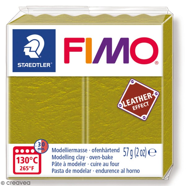 Pâte Fimo Effet Cuir Olive - 57 g - Photo n°1