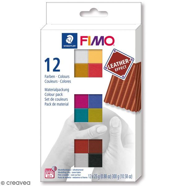 Coffret Pâte Fimo Effet cuir - 12 x 25 g - Photo n°1