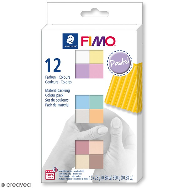 Coffret Pâte Fimo Soft - Couleurs Pastel - 12 x 25 g - Photo n°1