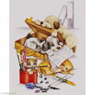 Image 3D Animaux - Chatons et chiots - 24 x 30 cm