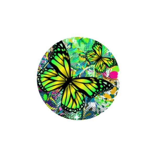 2 Cabochons 16 mm, Verre Rond, Femme Fleur Detail Papillon Vert, Multicolore - Photo n°1