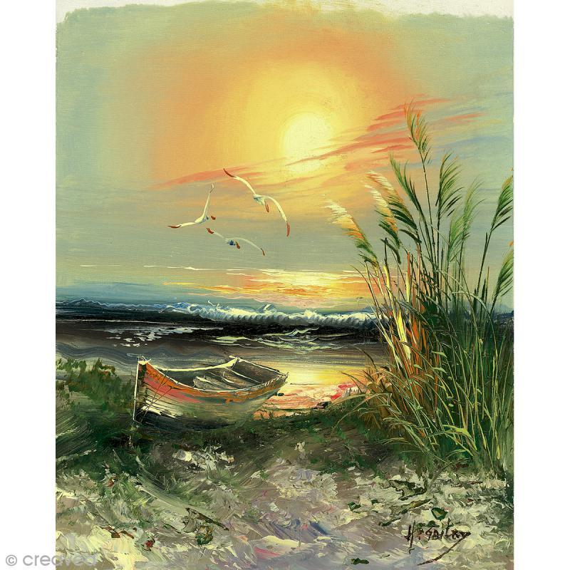 Image 3d paysage barque au coucher du soleil 24 x 30 for Peinture avec du sable