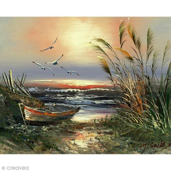 Image 3D Paysage - Barque et mouettes - 24 x 30 cm - Photo n°1