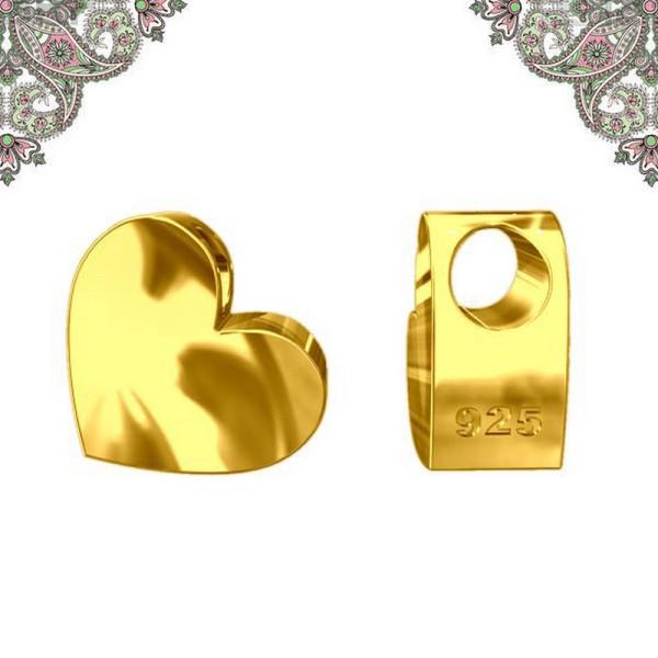 Argent 925 Plaquage Or -Perle Coeur en 3D 7*7,1 mm - Photo n°1
