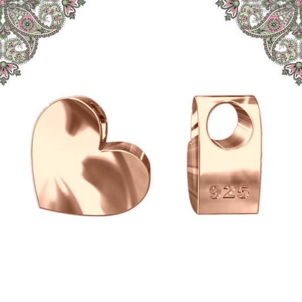 Argent 925 Plaquage Or Rose -Perle Coeur 3D. 7,0*7,1 mm - Photo n°1