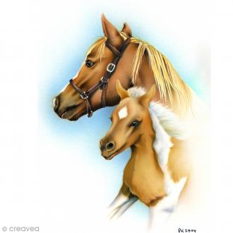 Image 3D Animaux - Jument et son poulain - 24 x 30 cm