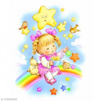 Image 3D Enfant - Fillette sur arc-en-ciel - 24 x 30 cm