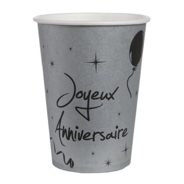 20 Gobelets argent joyeux anniversaire - Photo n°1