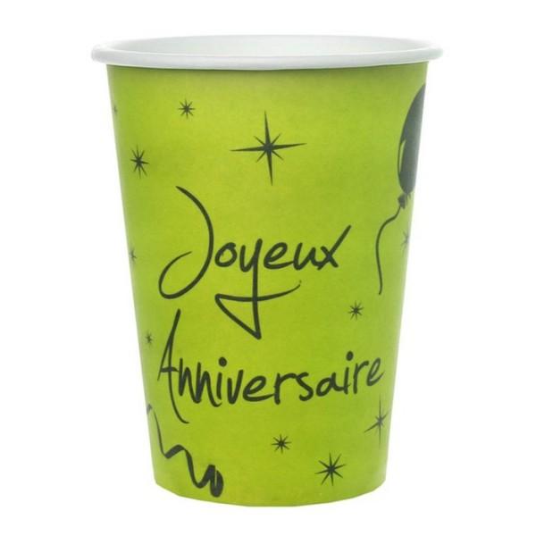 20 Gobelets Vert anis Joyeux anniversaire - Photo n°1