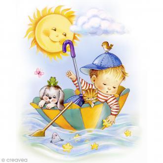 Image 3D Enfant - Garçon dans parapluie - 24 x 30 cm