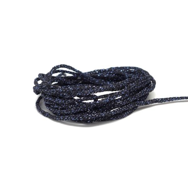 30m Cordon Tressé Noir Et Bleu Brillant En Polyester Et Lurex 1,5mm Très Souple - Photo n°2
