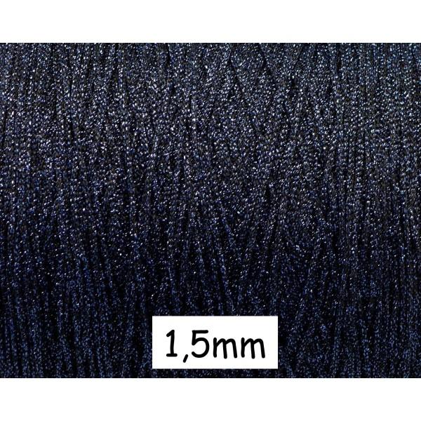 30m Cordon Tressé Noir Et Bleu Brillant En Polyester Et Lurex 1,5mm Très Souple - Photo n°1