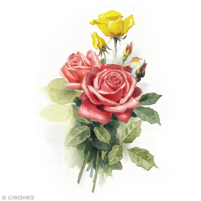 Image 3D Fleur - Roses rouge et jaune - 24 x 30 cm - Photo n°1
