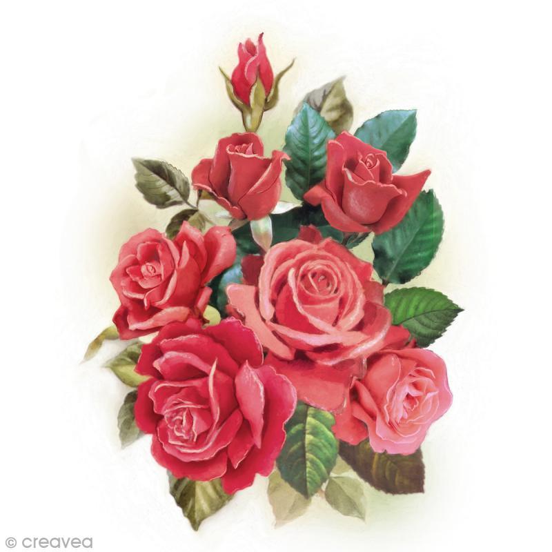 image 3d fleur bouquet de roses 24 x 30 cm images 3d 24x30 cm creavea. Black Bedroom Furniture Sets. Home Design Ideas