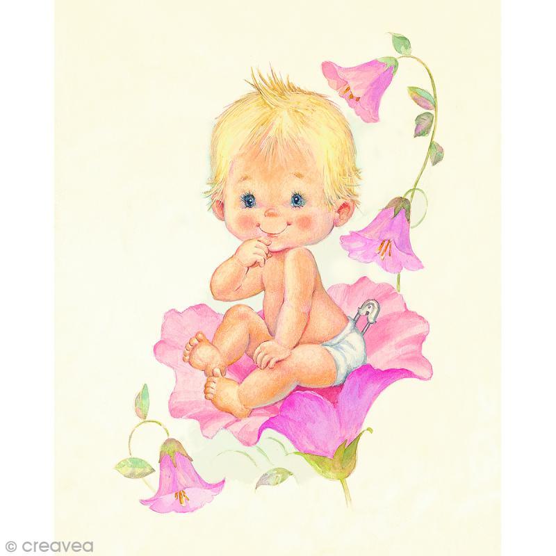 Image 3D Enfant - Bébé fille et fleurs - 24 x 30 cm - Photo n°1