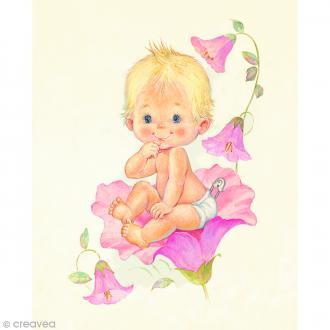 Image 3D Enfant - Bébé fille et fleurs - 24 x 30 cm