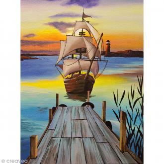 Image 3D Paysage - Bateau au soleil couchant - 24 x 30 cm