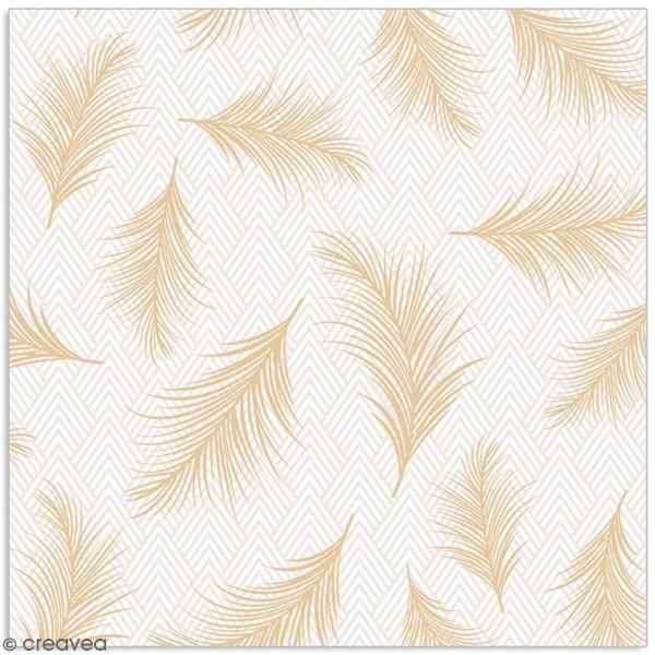 Serviette en papier - plumes dorées sur fond à chevrons gris et blancs - 20 pcs - Photo n°1