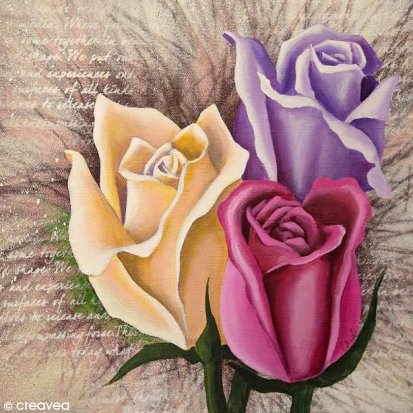 Image 3D Fleur - Trois roses - 30 x 30 cm - Photo n°1