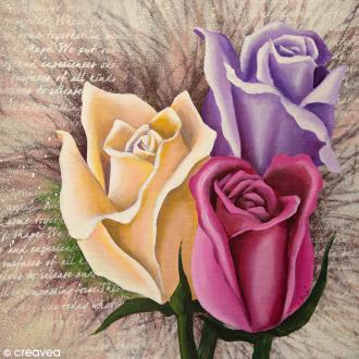 Image 3D Fleur - Trois roses - 30 x 30 cm