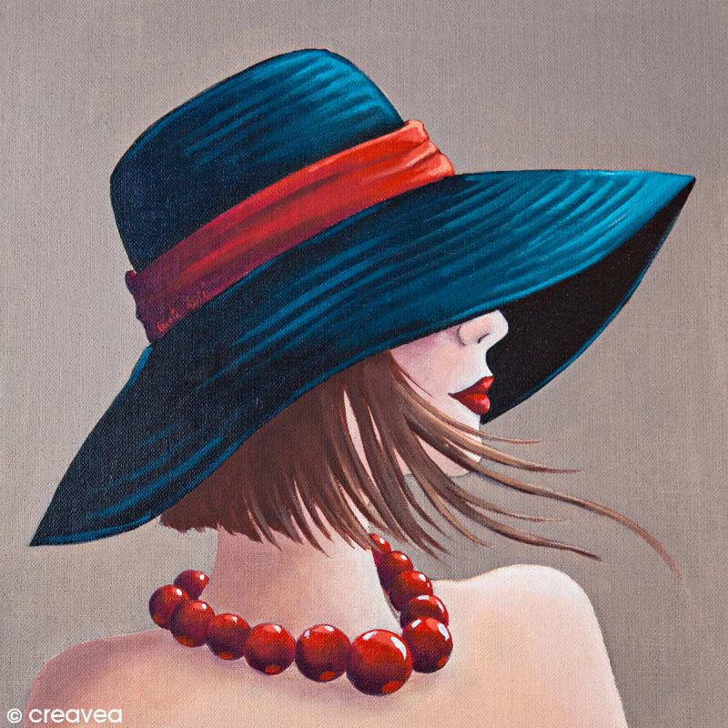Image 3D Divers - Femme au collier rouge - 30 x 30 cm - Images 3D 30x30 cm - Creavea