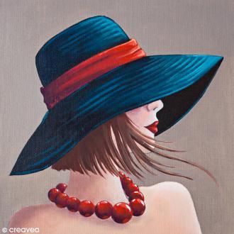 Image 3D Divers - Femme au collier rouge - 30 x 30 cm