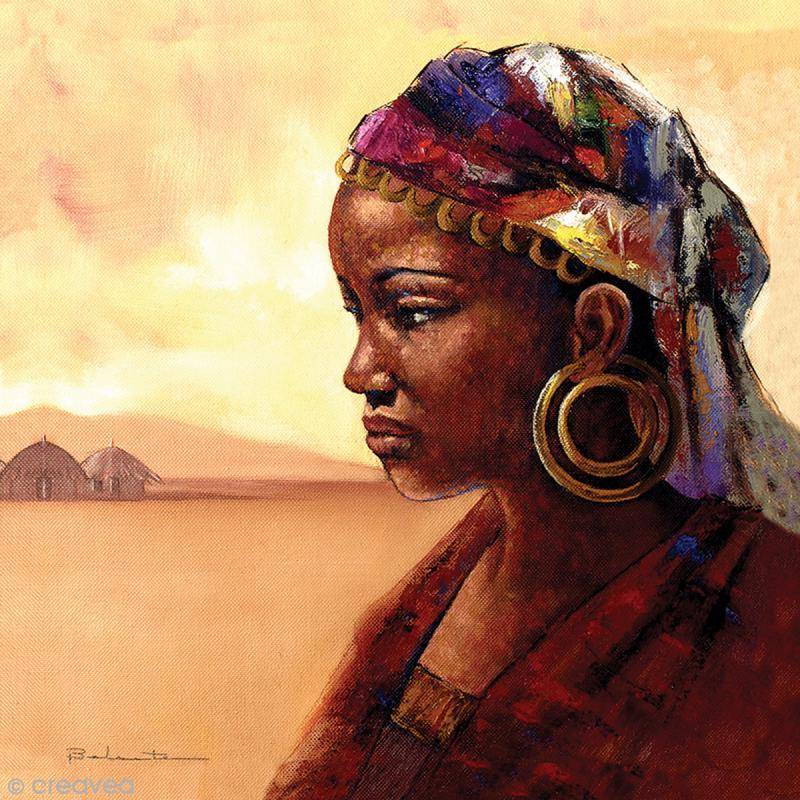 image 3d divers portrait femme africaine 30 x 30 cm images 3d 30x30 cm creavea. Black Bedroom Furniture Sets. Home Design Ideas